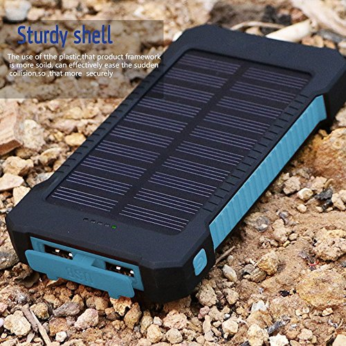 MeliTech Solar Charger 20000mAh Portable Solar Power Bank External Battery Pack Dual USB with LED Flashlight and Compass for Smartphones Tablet Camera (Black& Blue) by MeliTech (Image #4)