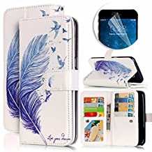 Samsung Galaxy S6 Edge Case, Luxury Dual Wallet Case [9 Card Holder] Premium PU Leather Multifunctional Embossing Pattern Book Style Magnetic Flip Stand Feature Cover Slim Protective Money Pocket Bumper - Blue Feather
