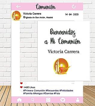 Photocall Instagram y Cartel de comunión 80x110cm Rosa| Personaliza tu Instagram de comunión| Instagram económico