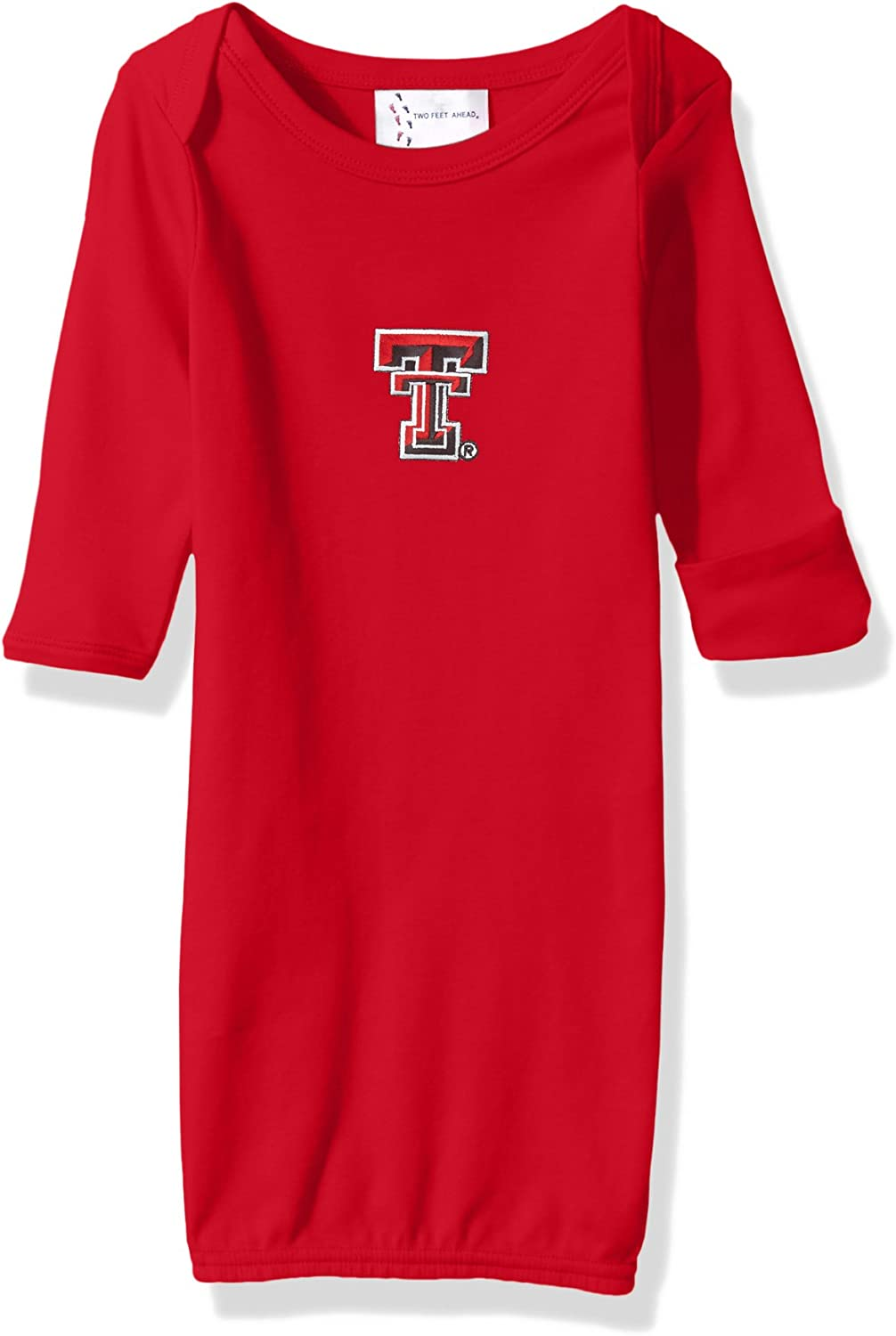 Two Feet Ahead NCAA Texas Tech Red Raiders Children Unisex Layette Gown,One Size,Red
