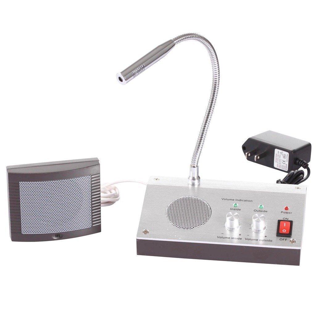 UHPPOTE Dual-V/ía Anti-Interferencia Sonido-Libre Oficina Banco Tienda Estaci/ón Ventana Micr/ófono Audio Registro Salida Intercomunicador Altavoz Sistema Para Mostrador Contador