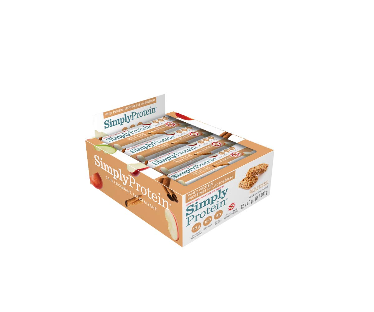 SimplyProtein Whey bar, Apple Cinnamon, Pack of 12, Gluten Free