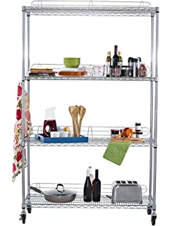 TRINITY EcoStorage 4 Tier NSF Wire Shelving Rack With Wheels, 48 By 18 By
