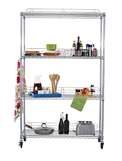 Superbe TRINITY EcoStorage 4 Tier NSF Wire Shelving Rack With Wheels, 48 By 18 By