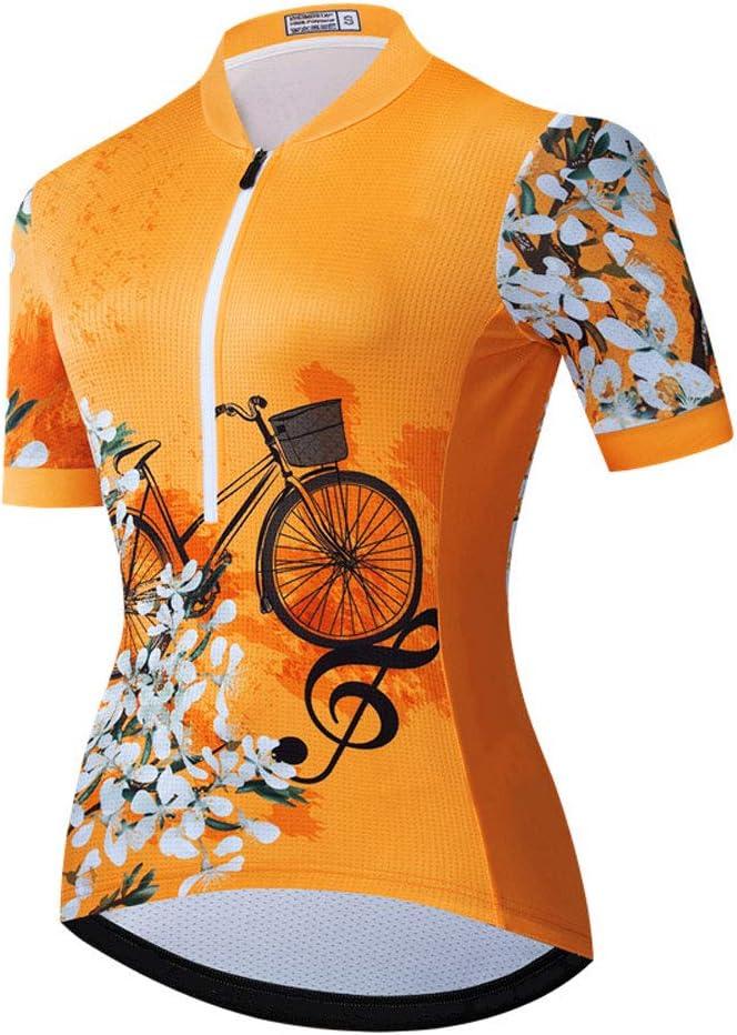 maglia da bici da ciclismo MTB antisudore per asciugatura rapida traspirante Maglia da ciclismo a manica corta per donna con tasche