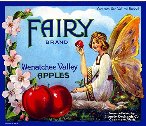 Apple Crate Label Art - Cashmere Washington Fairy Apple Fruit Crate Box Label Art Print