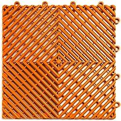 RaceDeck Free-Flow Open Rib Design, Durable Interlocking Modular Garage Flooring Tile (48 Pack), Orange