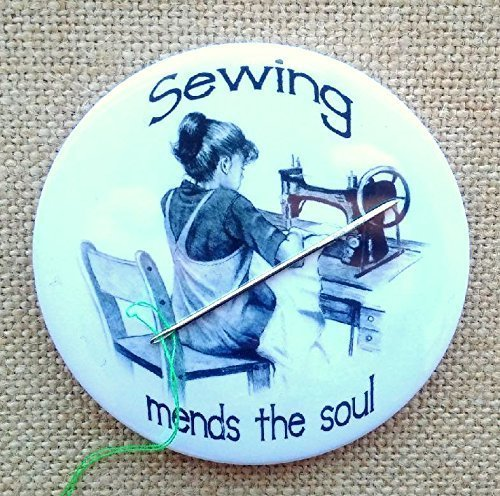 "Magnetic Needle Minder, 3.5"", Original Art, Love to Sew, Girl Sewing on Old Machine, Pencil Art, Needle Nanny from Joyce's Art Magnets"