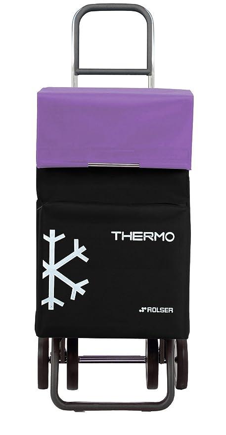 Rolser Termo Fresh MF Dos+2 - Carro de la Compra de 4 Ruedas, con bolisso Termo, Color Negro y Malva