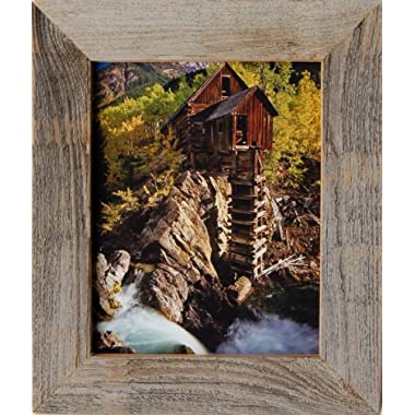 Barnwood Picture Frame, 8x10 Rustic Reclaimed Wood Frame, 2  Wide with Leather-look Easelback and Glass