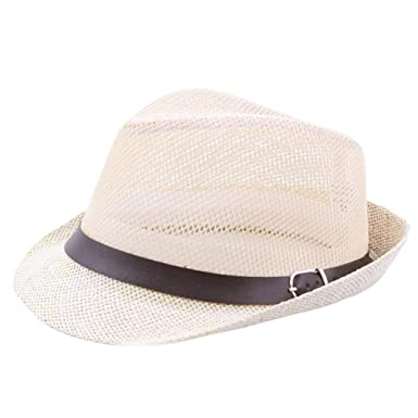 e5d3b21bcaf75 Turkey Unisex Fedora Trilby Hat Gangster Cap Summer Beach Sun Straw Hat  Black Band Hollow Out Caps (Beige)  Amazon.co.uk  Clothing