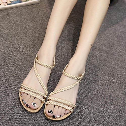 Sandalias de mujer, Internet Las sandalias de la armadura del verano de las mujeres varan los zapatos planos de las sandalias Beige