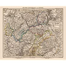 MAPS OF THE PAST Old World Map - SW Germany, Switzerland - Stielers 1885-27.82 x 23 - Glossy Satin Paper