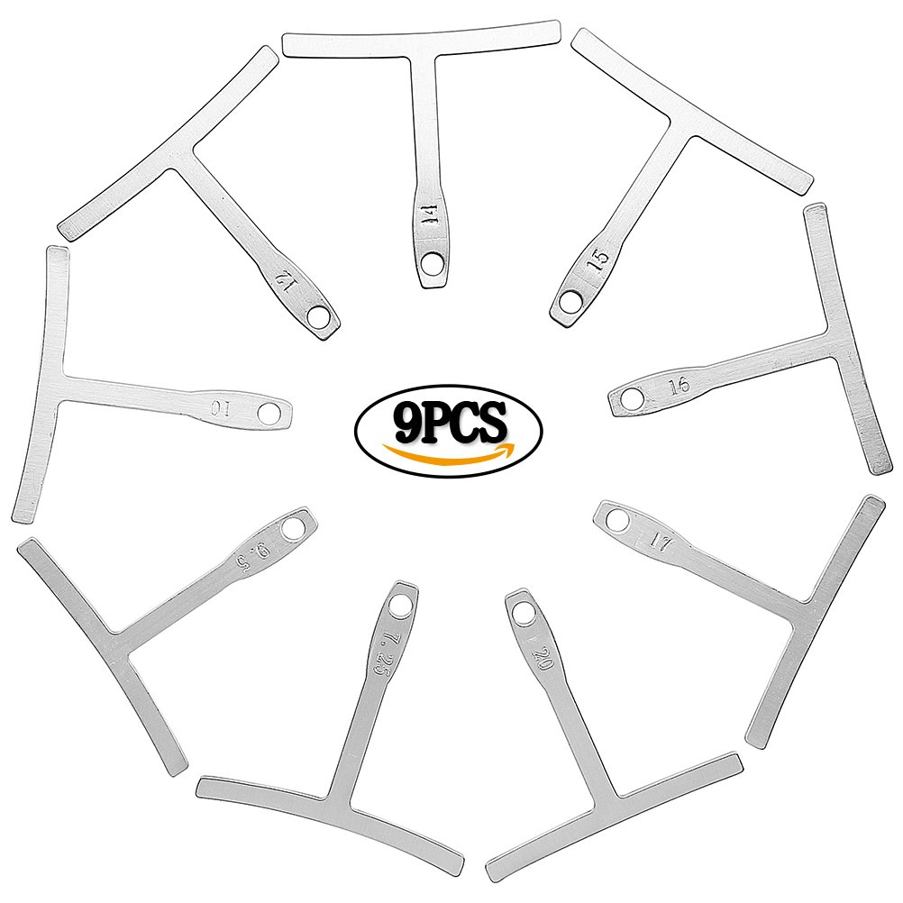 Guitar Radius Gauge, EUBags 9 PCS Understring Radius Gauge for Bass Guitar Setup Metal Luthier Tools Set for Bridge Saddle Adjustments