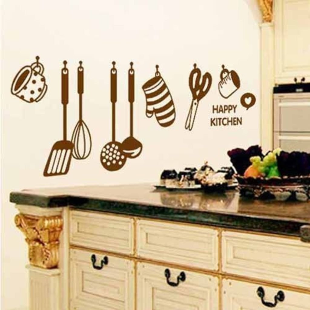 Buy decals design stylish kitchen wall sticker pvc vinyl 60 cm x 45 cm brown online at low prices in india amazon in