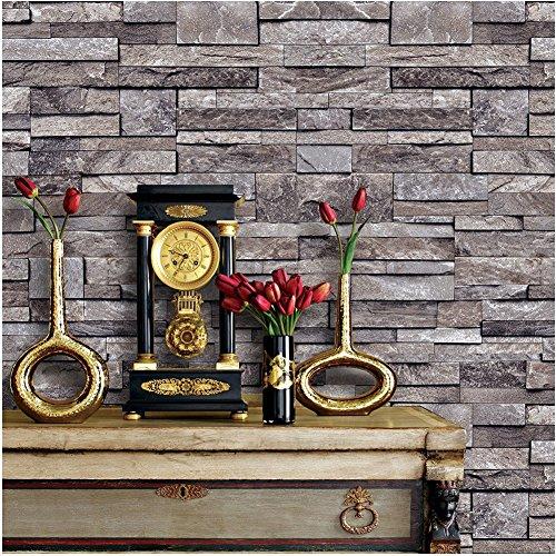 Brown Brick Block - 1494 Stone Brick Textured Wallpaper Roll,3D Embossed Multi Brick Blocks Wallpaper Living Room Bedroom Kitchen Bathroom Bar Wall Decoration 20.8