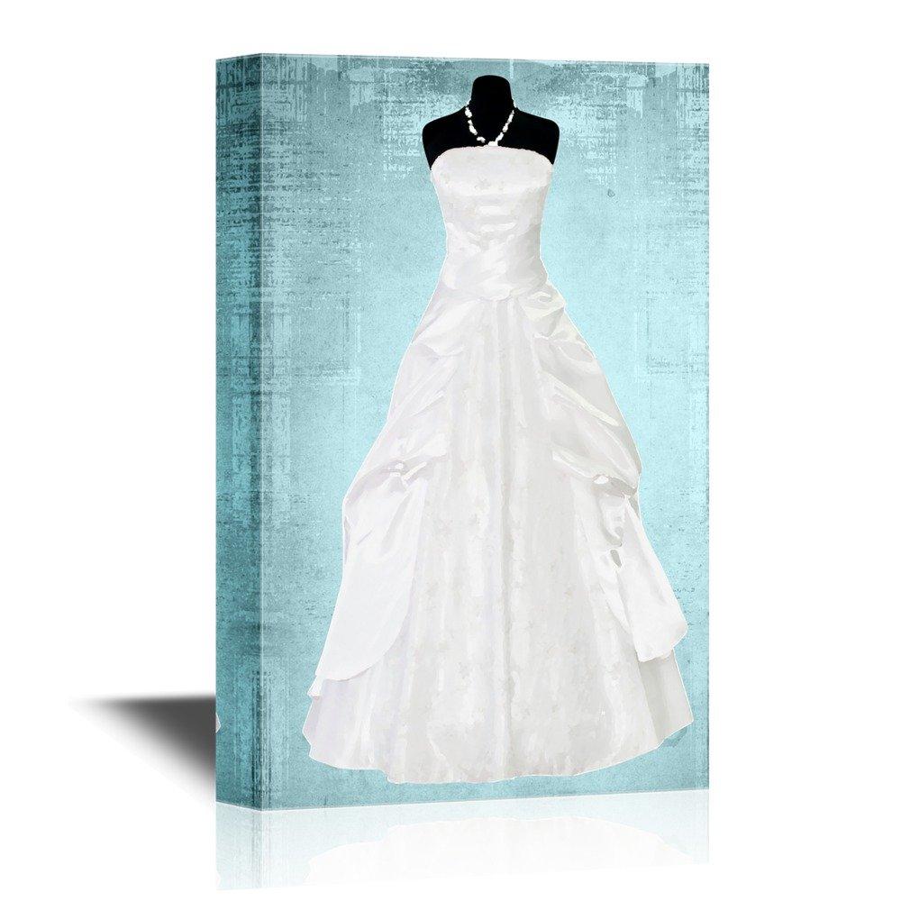 White Wedding Dress on Vintage Background - Canvas Art | Wall26