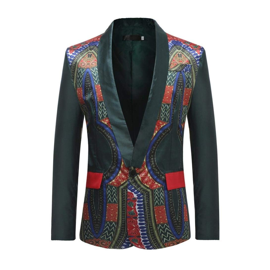 Longra Mens New Printed Coat African Fashion Cardigan Jacket Office Party Cocktail Party Jacket Long Sleeve