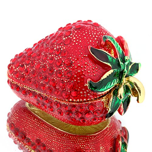 (YUFENG Hinged Trinket Box For Girls, Handmade Red Strawberry Trinket Boxes Decorated for Women (red strawberry))