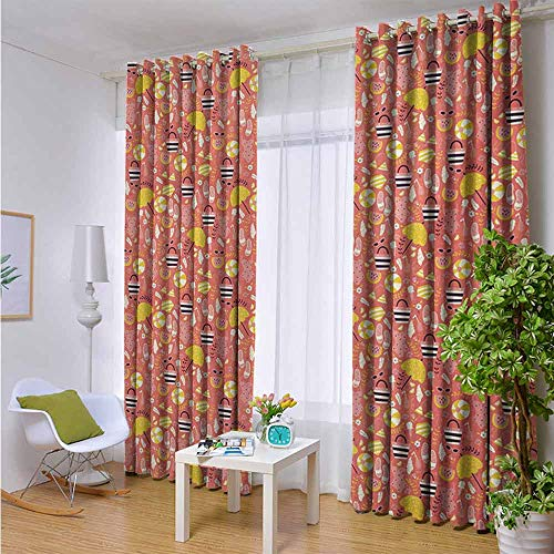 FreeKite Beach Indoor Thermal Curtains Hand Drawn Doodle Summer Pattern with Flip Flops Sunglasses Swimwear and Umbrella for Home Bedroom Decor W107 x L107 Inch ()