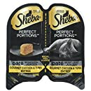 SHEBA PERFECT PORTIONS Paté in Natural Juices Gourmet Chicken & Tuna Grain Free Cat Food 2.6 Ounces (24 Twin Packs)