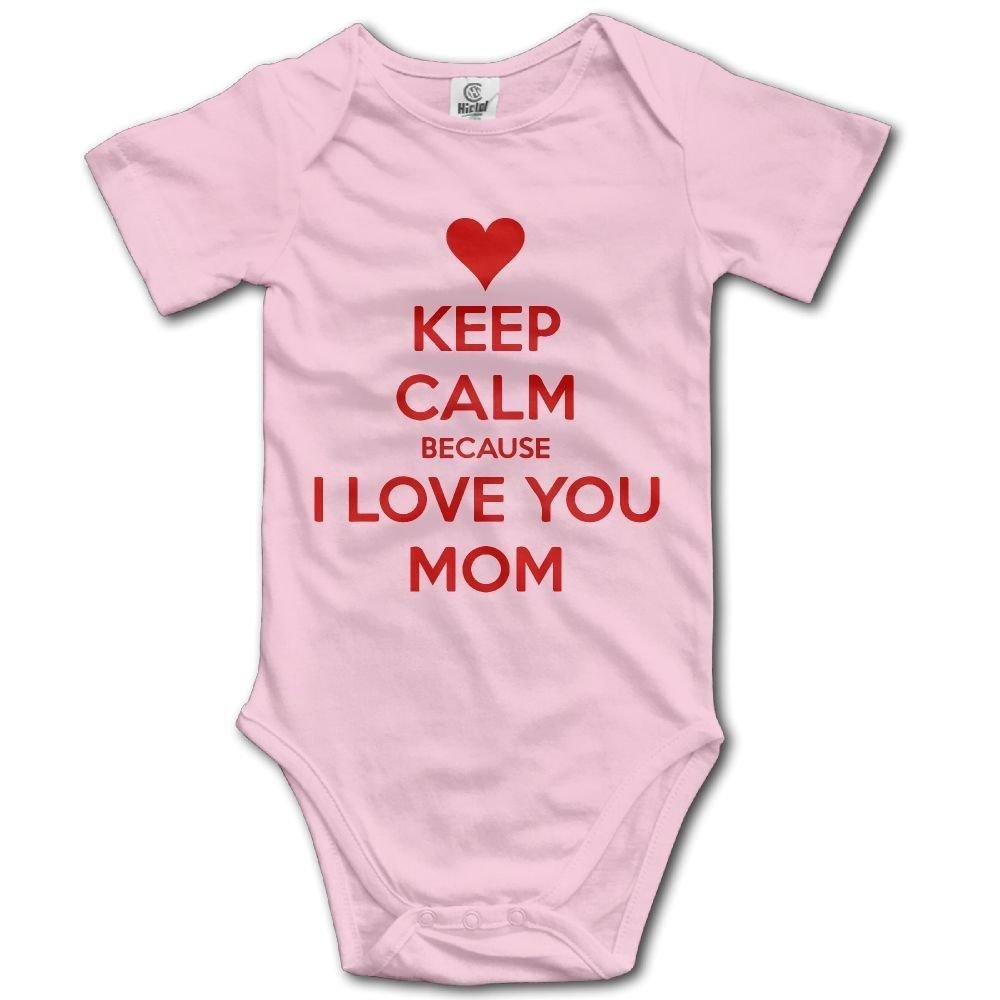 Newborn Infant Keep Calm Because I Love You Mom Short Sleeve Romper Onesie Bodysuit Jumpsuit