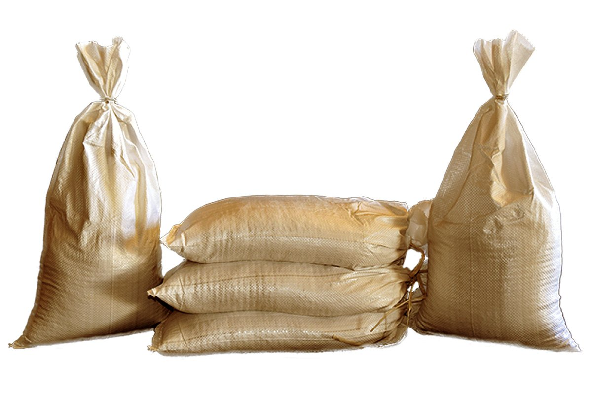 Sand Bags - Empty Beige-Tan or Green Woven Polypropylene Sandbags with Built-in Ties, UV Protection; Size: 14'' x 26'', Qty of 100 (Beige - Tan) by Geo Erosion Resources