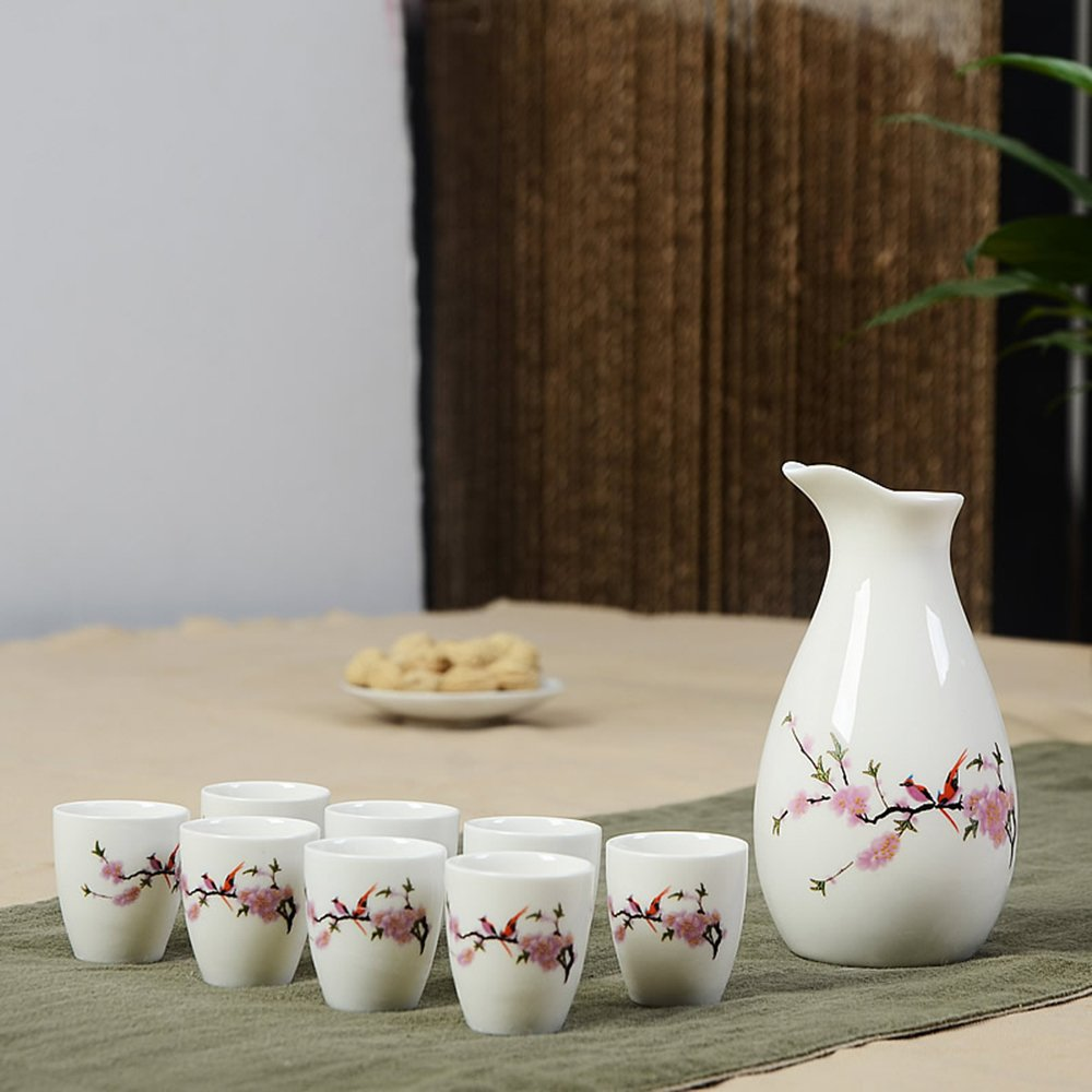 Dehua Porcelain 9 Pc Ceramic Sake Set with Decal-#2