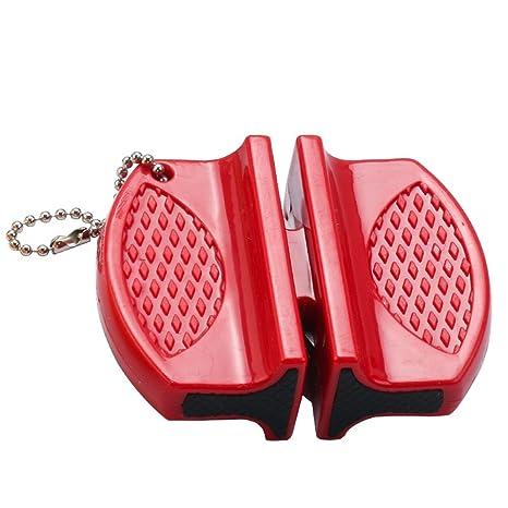TONVER Afilador de cuchillos mini caña de cerámica acero mariposa afilador de dos etapas portátil cuchillos accesorios 7.6 * 5.8 * 2.5 cm rosso