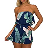 Women Sexy Off Shoulder Floral Printed Playsuit One Piece Summer Strapless Romper Beach Short Jumpsuit