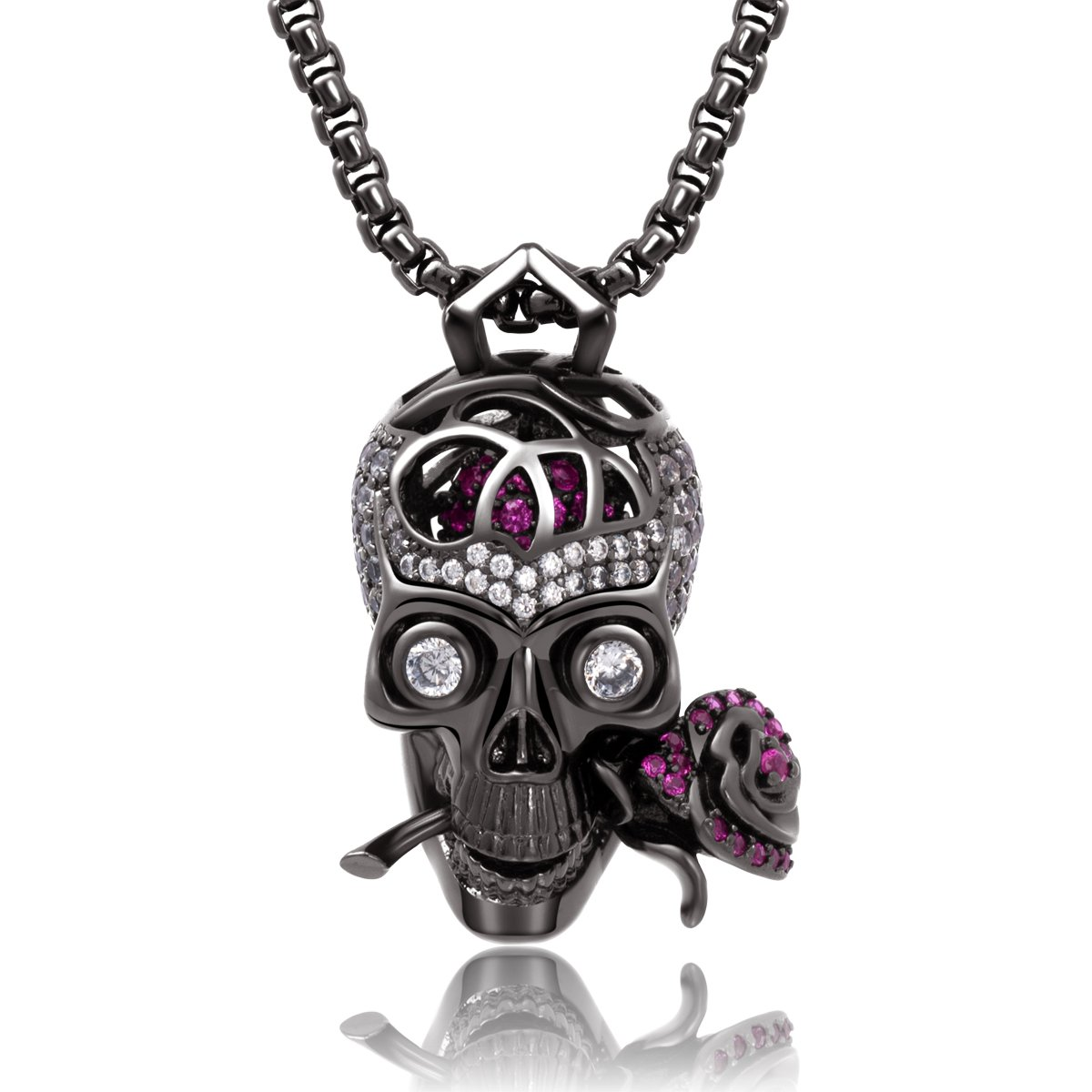Karseer Gothic Filigree Sugar Skull and Everlasting Rose Charm Pendant Necklace with Crystal Brain Hidden Floating Inside, 24'' Box Chain Matching Costume, Gun Black Jewelry Gift for Men and Women
