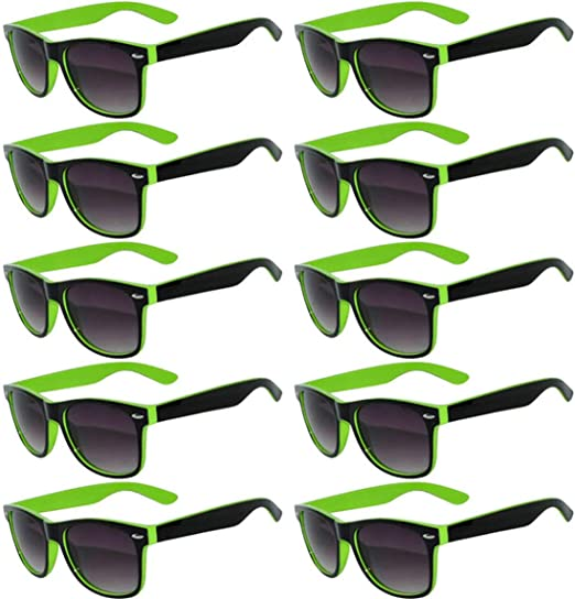 WHOLESALE LOT OF BRIGHT COLOR FRAME SMOKE LENS COLORS  W-1S NEON