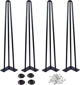 "Osring 32 Inch Hairpin Table Legs with 1/2"" Dia 3-Rods, Heavy Duty Metal Hairpin Furniture Leg for Coffee Table and Patio Bench, Black Hairpin Feet with Floor Protector for Home DIY Project, 4 Pack"