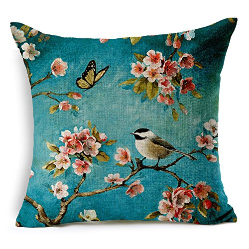 "Kipten Cotton Linen Hand Painted Oil Oainting Bird Pattern Sofa Pillow Car Cushions Sets Home Decoration Pillow Protective Cover 18"" X 18"""
