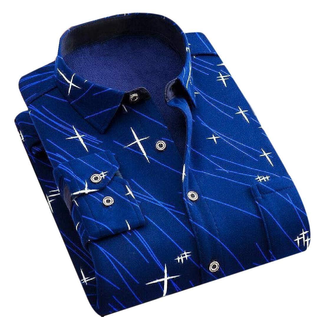 Coolred-Men Warm Plaid Button Fleece Winter Long-Sleeve Slim Fitted Shirt
