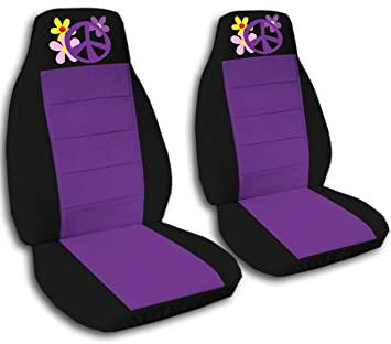 Astonishing 2 Black And Purple Flower Power Seat Covers For A 2012 Creativecarmelina Interior Chair Design Creativecarmelinacom