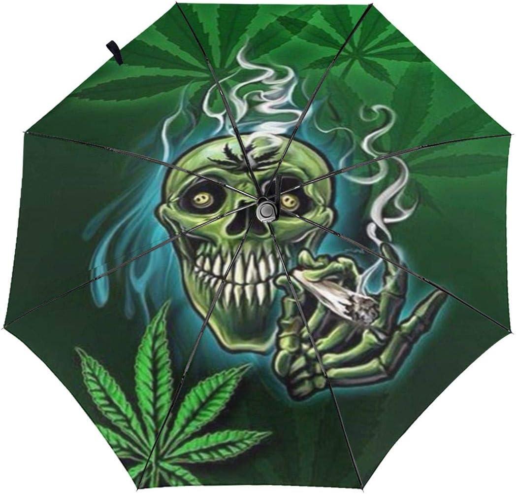 Skull Smoke Weed Automatic Tri-Fold Umbrella Parasol Sun Umbrella Sunshade