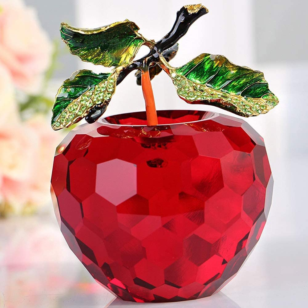 ZAVOYISHU Large Metal Leaves Stem Carved Crystal Apple for Decoration Paperweight Home Decor Car Decor Christmas Decor Figurines 80mm 3.15 inches (Color : Red)