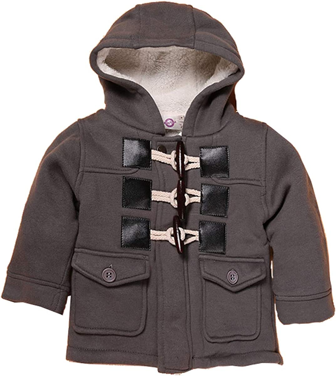 Qinni-shop Baby Toddler Little Boys Khaki Gray Fleece Hooded Duffle Coat Winter Cotton Jacket