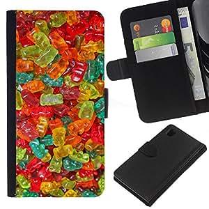 [Neutron-Star] Modelo colorido cuero de la carpeta del tirón del caso cubierta piel Holster Funda protecció Para Sony Xperia Z1 L39 [Gummy Bear Candy Sweets Food Colors]