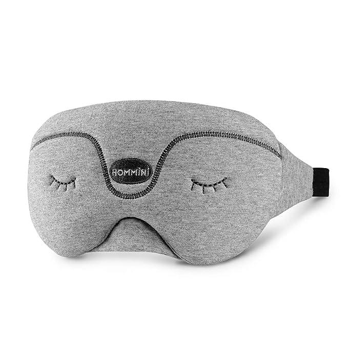 HOMMINI Antifaz para dormir, máscara para dormir, máscara de viaje de algodón puro y transpirable, con correas ajustables, suave, cómodo para niños y ...
