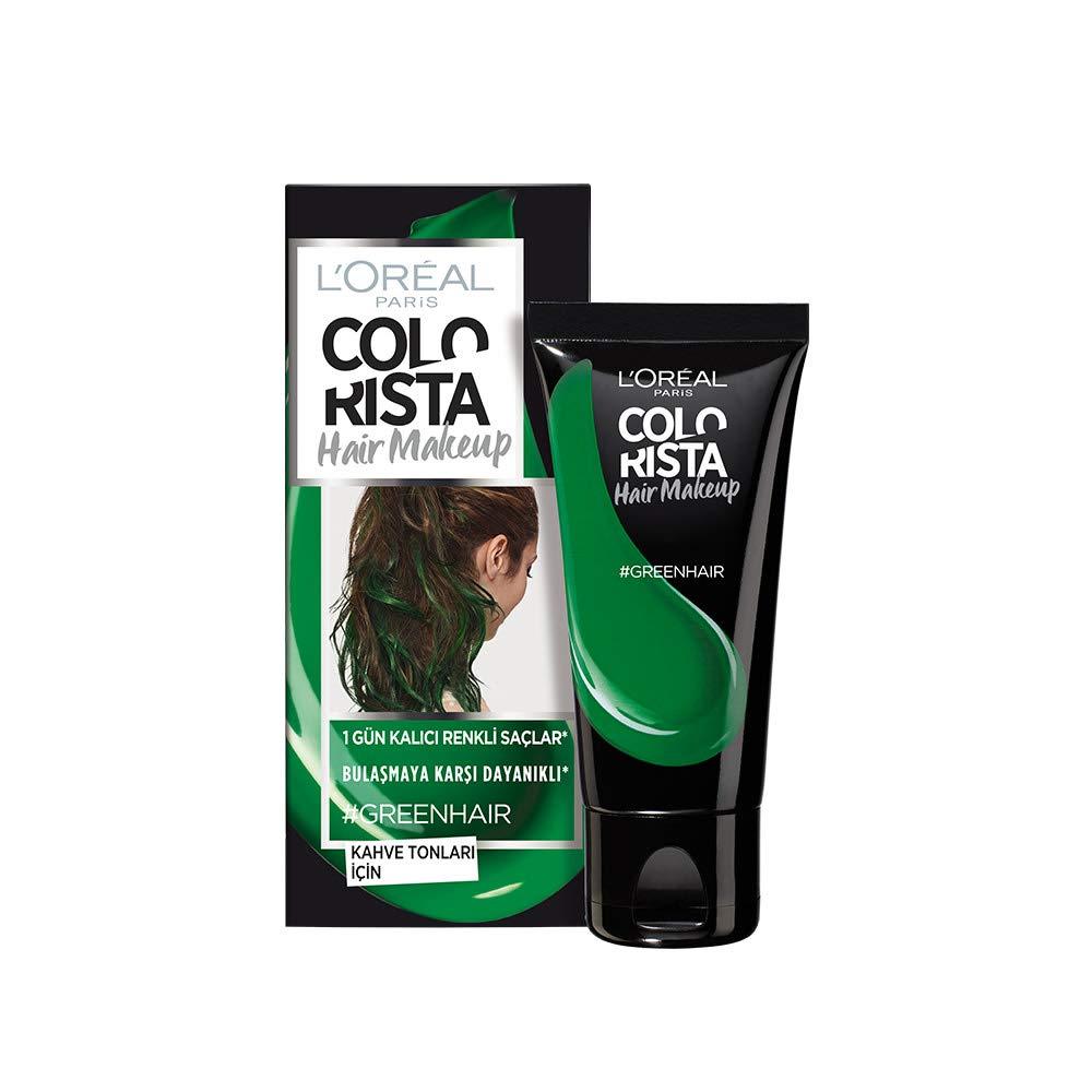 Colorista Hair Makeup Temporare Haarfarbe Fur Braunes Haar Grun Amazon De Beauty
