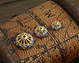 MFMei 925 Sterling Silver Filigree Golden Plated Cloisonne Bead Caps (TL035) (10mm)