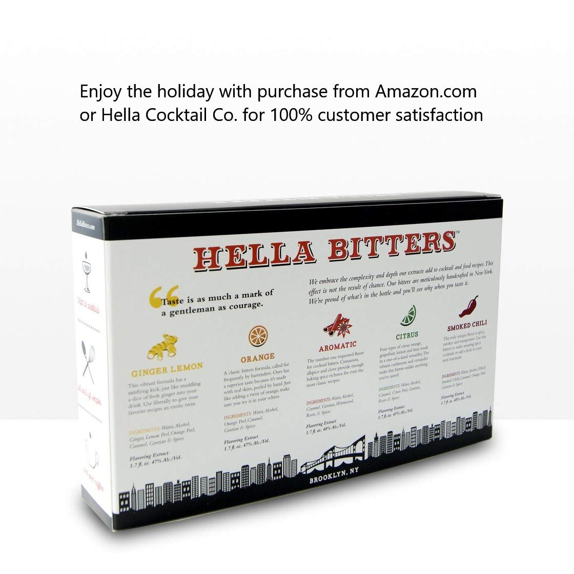 Hella Cocktail Co. | 5 Pack Bitters bar Set, 8.5 oz total | Craft Aromatic, Orange, Ginger, Citrus, Smoked Chili Cocktail Bitters made with Real Fruit Peel & Whole Spices - For the Homebar by Hella Cocktail Co. (Image #3)