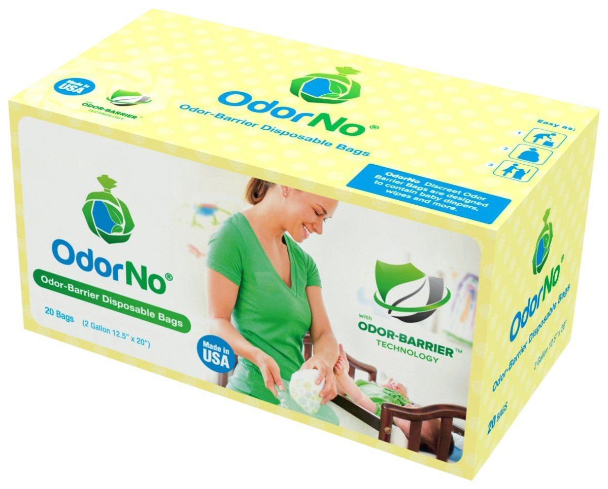 OdorNo Model INF-2-4103 Odor-Barrier, Multi-Layer Infant Waste Disposal Bags, 2 gal, 20 Count by OdorNo