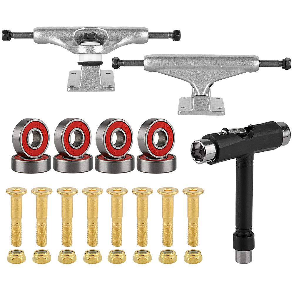 BESIY Skateboard Longboard Truck and Wheel, Racing Titanium Skateboard Truck & Wheel Hardware Set with Polished Skateboard Screws and Practical Wrench ((B)) by BESIY