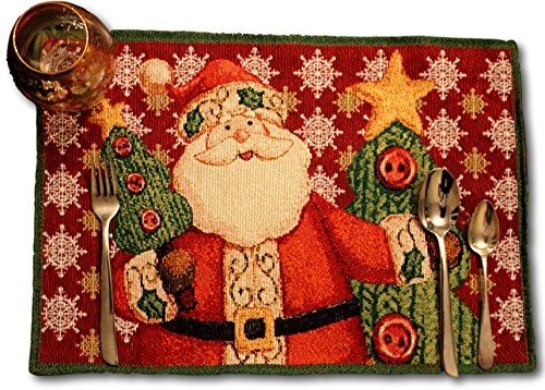 (Tache Home Fashion DB15191PM-1319 Tache Set of 4 Festive Tapestry Christmas Cute Santa Claus is Coming to Town Placemat, 13x19, Red, 4 Unit )