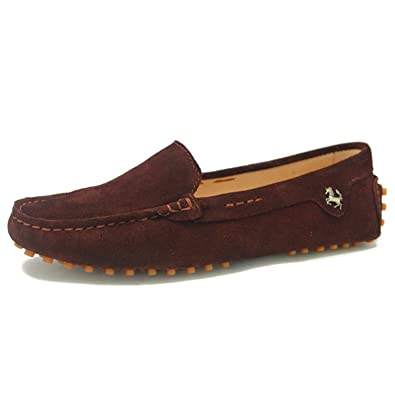 08ae982de31 Goeao Women Casual Comfortable Suede Leather Driving Bow Moccasins Slip-on  Loafers