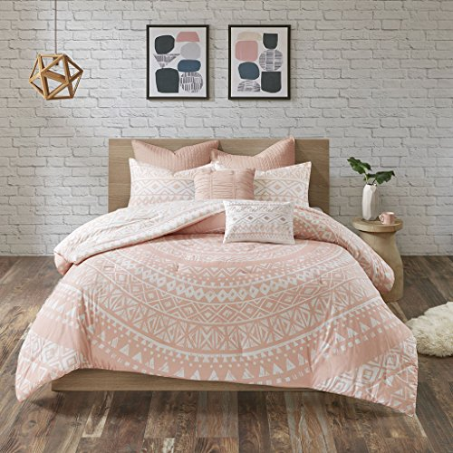 (Urban Habitat Larisa Comforter Reversible Stripes 100% Cotton Shell Hand-Drawn Medallion Geometric Shape Print Soft Down Alternative Hypoallergenic All Season Bedding-Set, Full/Queen, Blush)