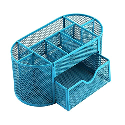 Jeash Storage Box ✿ Multi-Function Pen Pencils Mesh Holder Stationery Container Desk Tidy Organizer for Home School Office Decor (Blue) by Jeash (Image #8)